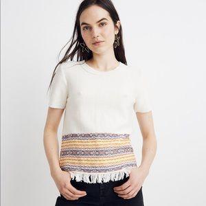 NEW Madewell Fringed Jacquard Sweater Tee